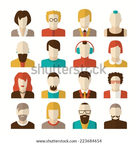 Stylized character people avatars in flat style for social networks - stock vector