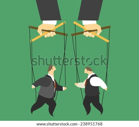 stylized characters male puppets controlled collided business concept - stock vector