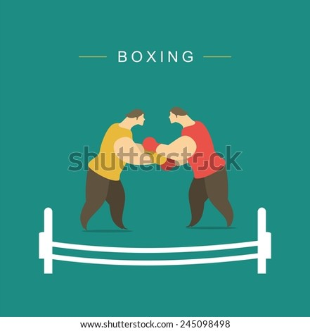 stylized characters two boxers in the ring are fighting boxing - stock vector
