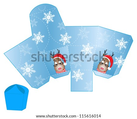 stylized Christmas box with Santa Deer blank template