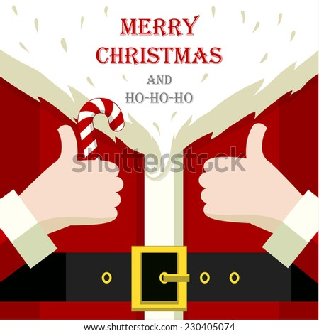 Stylized christmas illustration with Santa Claus close up details - stock vector