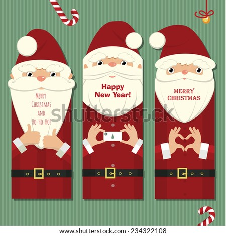 Stylized christmas illustration with three cards in the form of Santa Claus close up details - stock vector
