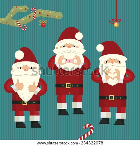 Stylized christmas illustration with three figures of Santa Clauses close up details - stock vector
