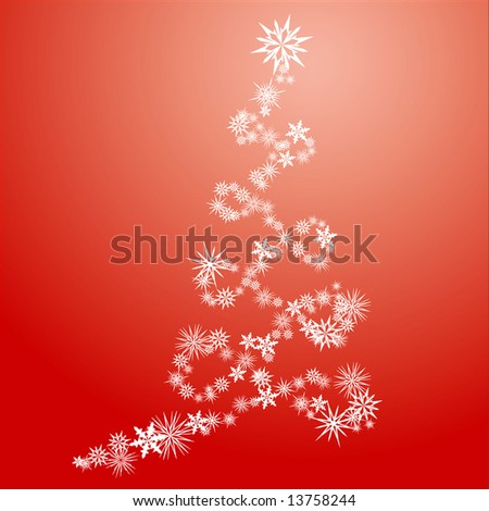 Stylized Christmas tree in spiral shape made from snow flakes - stock vector
