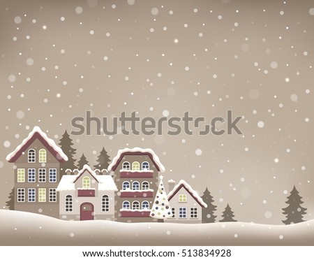 Stylized Christmas village theme image 1 - eps10 vector illustration.