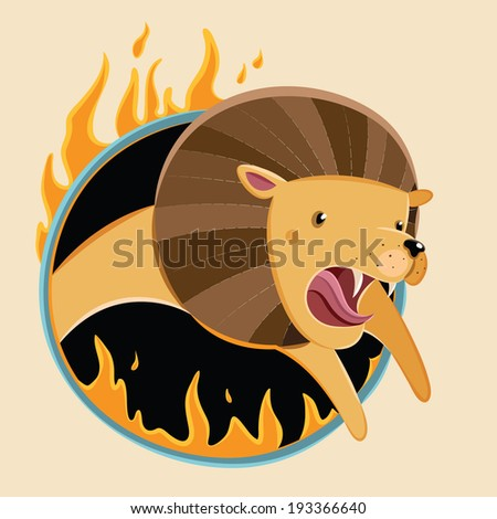Stylized circus lion jumping into a burning ring. Lion circus. Vector illustration - stock vector