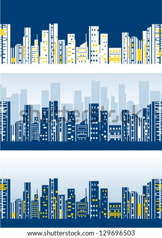 Stylized city skylines  vector wallpaper