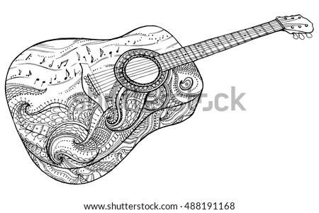 Stylized Classical Guitar Retro Musical Instrument Music Rock Line Art
