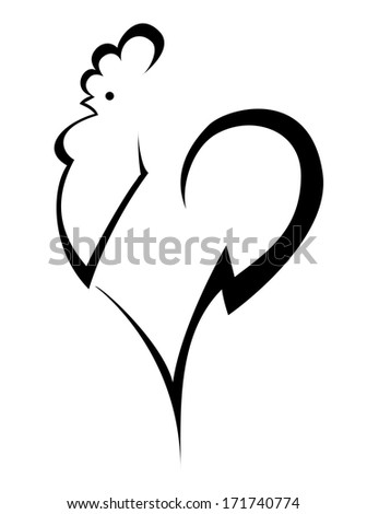 stylized cock - stock vector