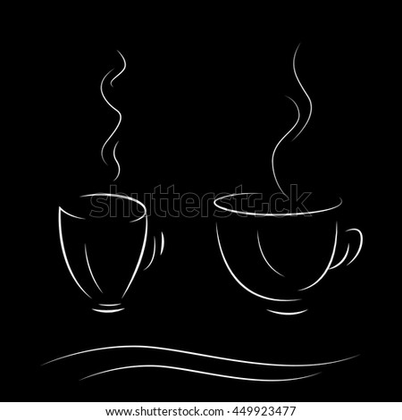 Stylized coffee cup on a black background. Minimalism. Isolated