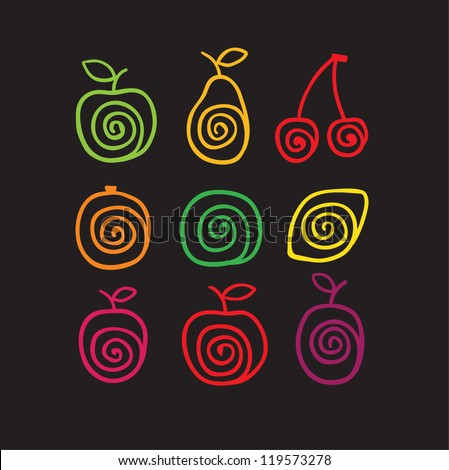 Stylized color swirly fruits icons. Vector illustration - stock vector