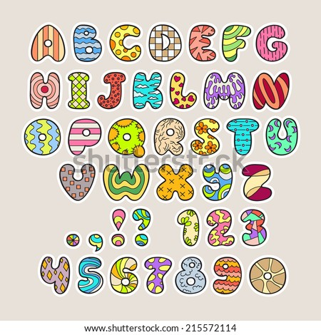 Stylized colorful alphabet and numbers in vector. Use in design. Easy to use and edit letters