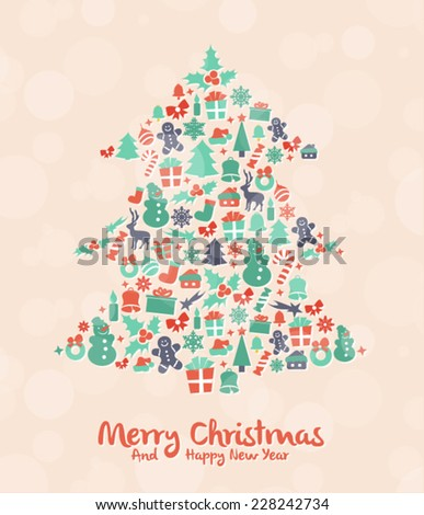 Stylized Colorful Background with Christmas Elements  - stock vector