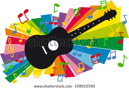 Stylized colorful illustration of guitar and flying notes on colorful background - stock vector