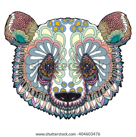 stylized colorful panda portrait art on stock vector royalty free