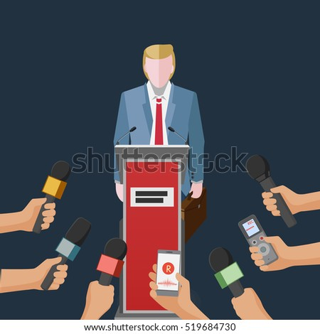 stylized conceptual illustration with man figure giving an interview or making politic speech