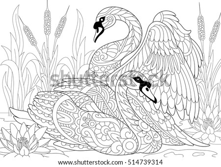 stylized couple of two swans among lotus flowers water lilies and pond plants