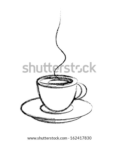 stylized cup of coffee, drawing style, vector