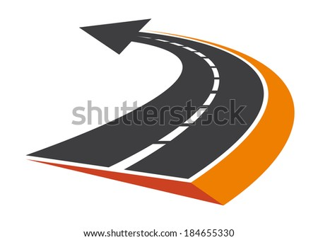 Stylized curved tarred road with an arrow pointer and diminishing perspective to vanishing point - stock vector