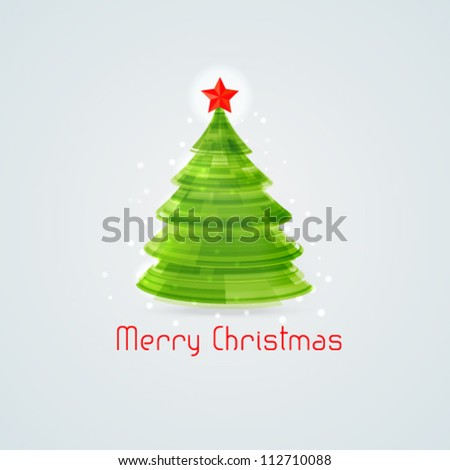 Stylized 3d Christmas tree. Vector illustration. - stock vector