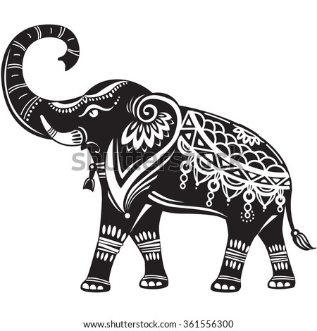 Stylized decorated elephant  - stock vector