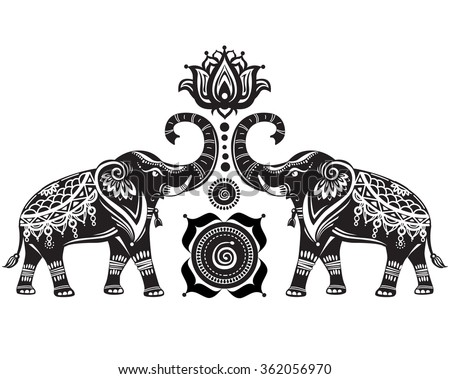 Stylized decorated elephants and lotus flower - stock vector
