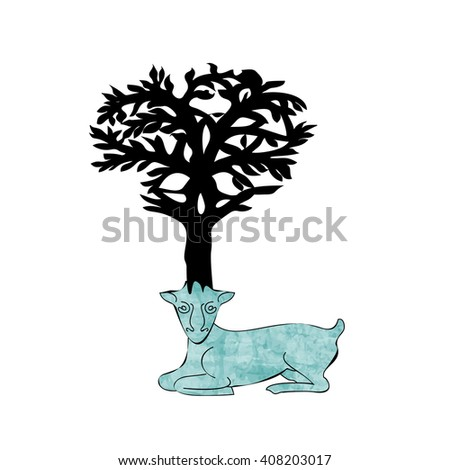 Stylized decorative image deer with horns in form of Celtic symbol tree