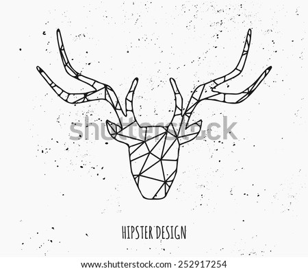 Stylized deer head silhouette with triangles design. - stock vector