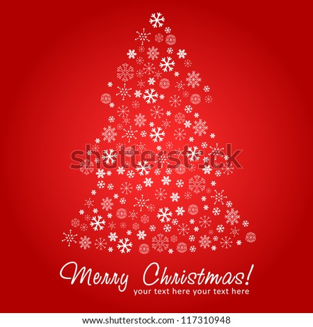 Stylized design Christmas tree silhouette made of snowflakes