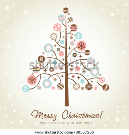 Stylized design Christmas tree with xmas toys, balls, stars and snowflakes - stock vector