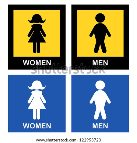 Stylized design of male and female toilet symbols.