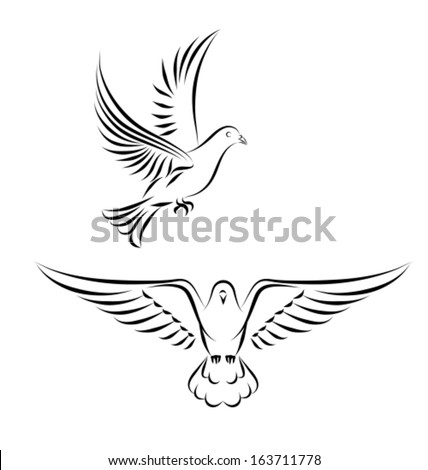 side and front view black outlines vector illustration
