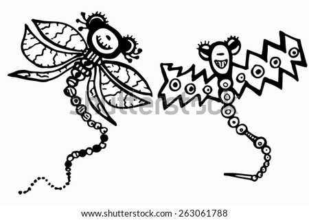 Stylized dragonflies - vector
