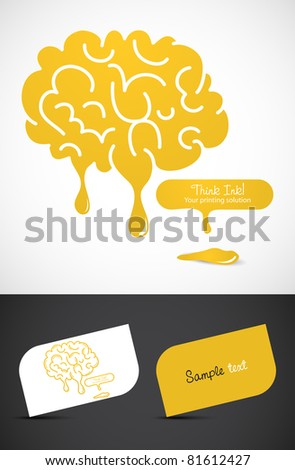 Stylized dripping brain icon such logo, EPS10 vector, - stock vector