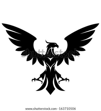 Stylized Eagle Black Over White Vector Stock Vector ...