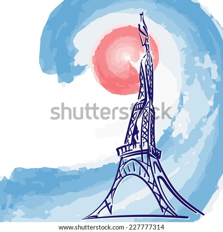 Stylized Eiffel Tower on the French national colors background. Sketch style. EPS8 vector illustration. - stock vector