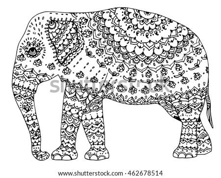 Indian Elephant Line Drawing Stylized Elephant Indi...