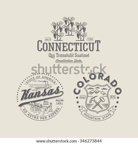 Stylized emblems of the states Kansas, Connecticut, Colorado white