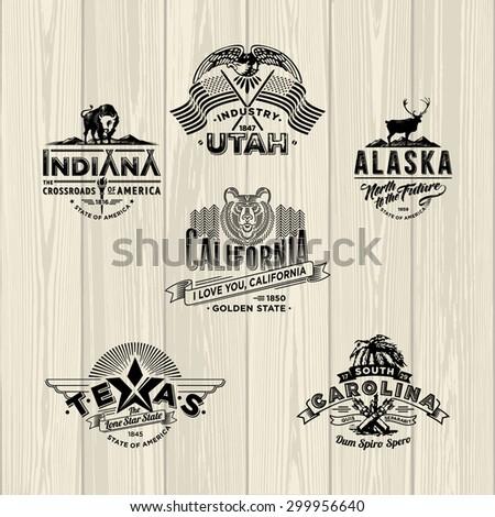 Stylized emblems of Utah, Indidana, Alaska, California, Texas, Carolina. - stock vector