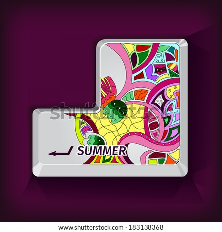stylized enter key with an unusual summer pattern - stock vector