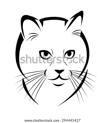Stylized face of cat isolated on white background.