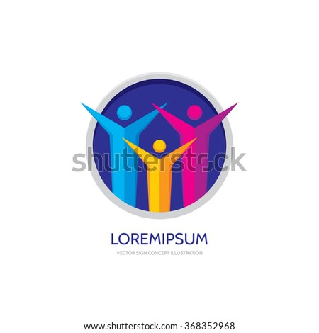 Stylized family - abstract figures - vector logo concept illustration. People group logo sign. Social media logo symbol. Teamwork sign. Friendship logo sign. Vector logo template. Design elements. - stock vector