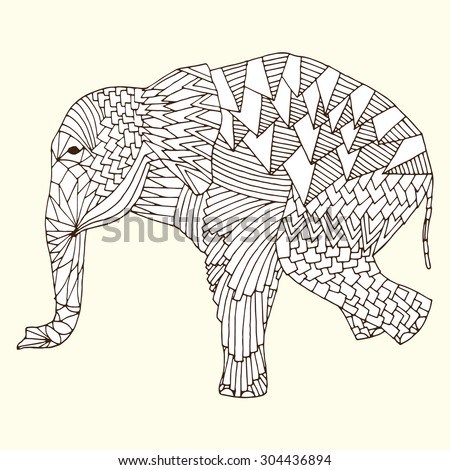 Stylized fantasy patterned elephant on front feet. Good for T-shirt, bag or whatever print. Vector illustration - stock vector