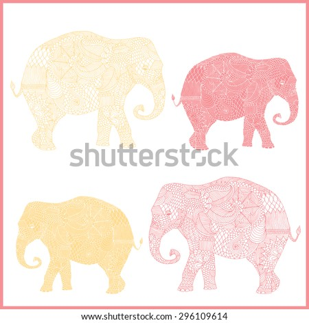 Stylized fantasy patterned elephant variations. Hand drawn vector illustration with floral elements. Original hand drawn elephant.  - stock vector