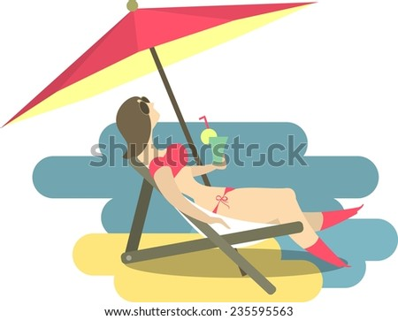 stylized female figure on holiday sunning on the beach under an umbrella