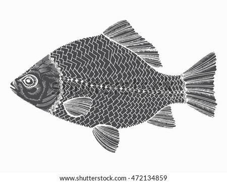 Line Art Of Fish : Stylized fish carp river black stock vector 472134859