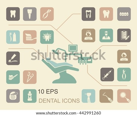 Stylized flat symbols of dentistry and dental care - stock vector