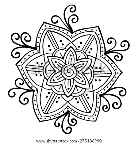 Stylized floral pattern. Round ornament. Vector art - stock vector