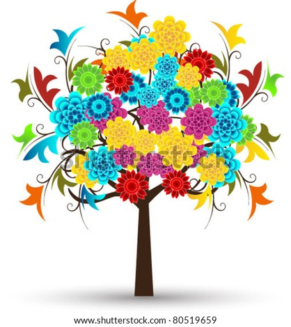 stylized floral tree with shadow