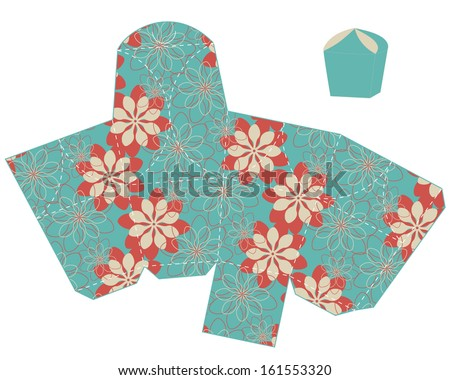 stylized flower gift box template. vector - stock vector